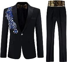 فستان رجالي مطرز بالترتر مزين بالزهور من قطعتين بدلة بمقاس نحيف وجاكت وسروال