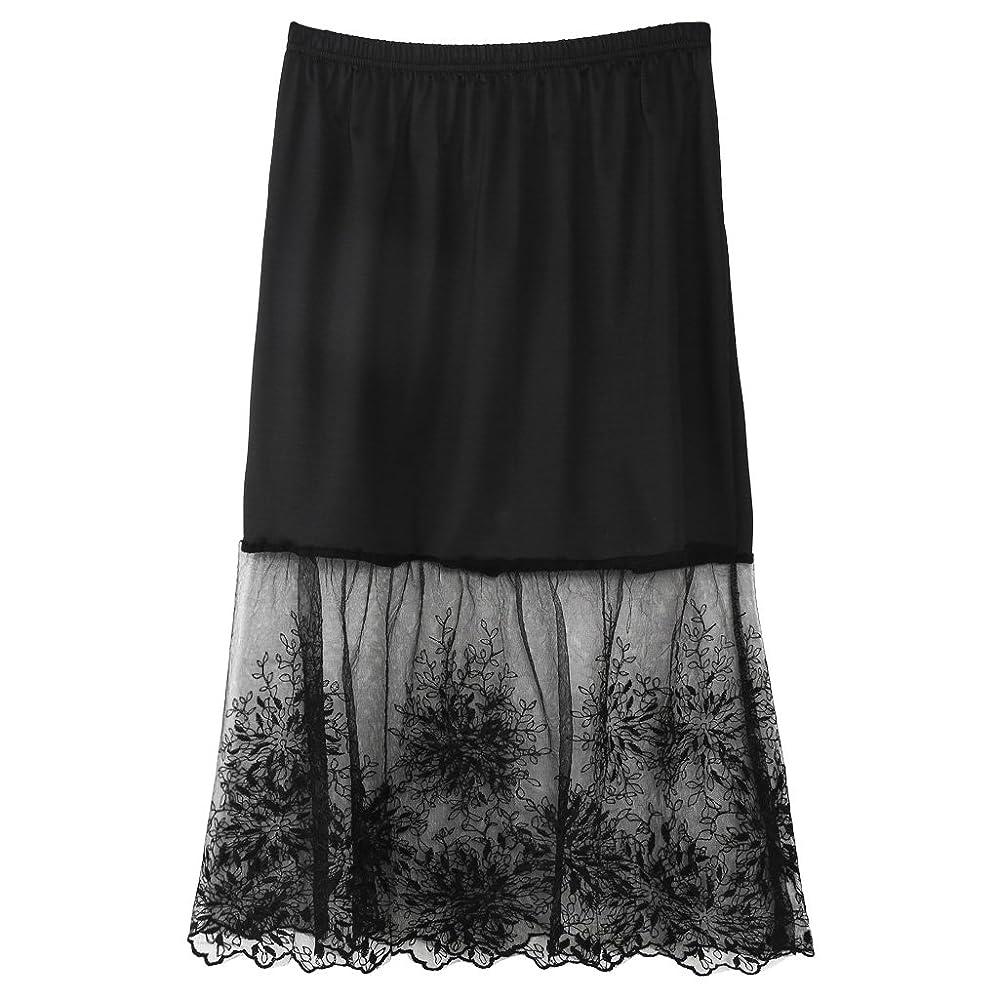 権威豪華なラボLamdoo女性レースハーフスリップスカートエクステンダー弾性ウエストAライン中空ペチコートスカートの下 - 黒