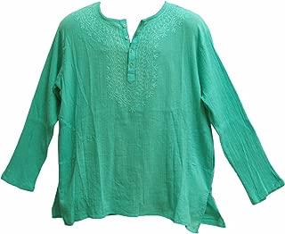 Mens Indian Bohemian Crinkled Gauze Cotton Embroidered Tunic Shirt Kurta Aqua Blue