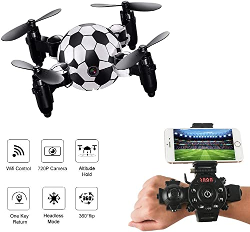JHSHENGSHI Modélisation de Football RC Drone WiFi Version Mini Quadcopter avec Caméra 2.4 GHz pour Adultes Enfants Enfants Débutants (with Camera)