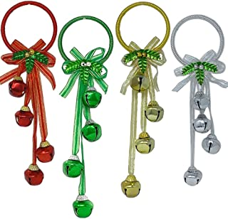 BANBERRY DESIGNS Christmas Door Hangers - Set of 4 Jingle Bell Hangers - Red, Green, Silver and Gold Finish -Door Knob Ornaments- Christmas Decorations