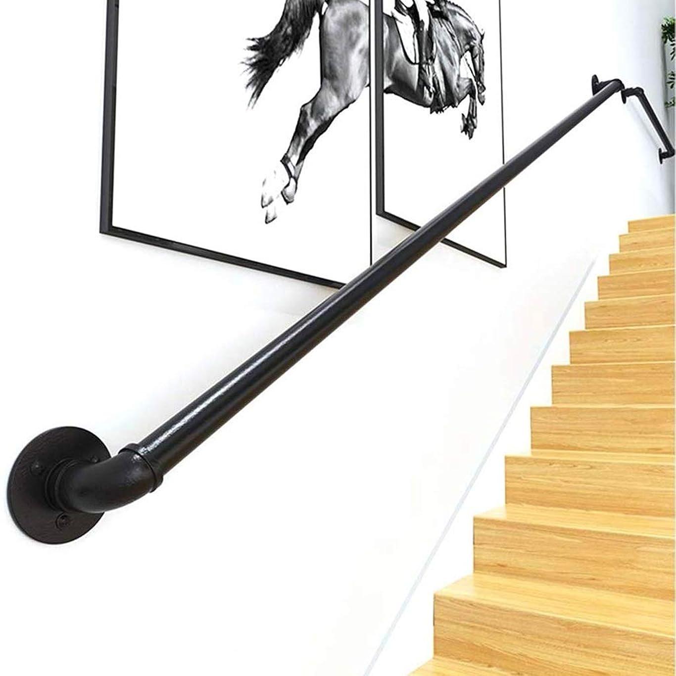 通行料金保証ファーム階段のステップのための手すり、プロフェッショナル産業錬鉄ブラックパイプ階段の手すり、壁掛け屋内屋外ノンスリップ安全レール、1フィート、20フィート (Size : 12ft)