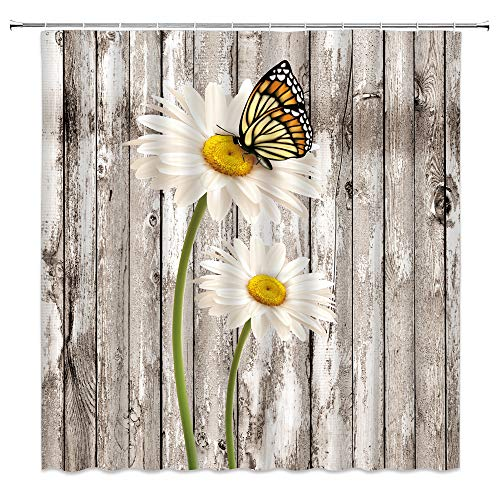 Farmhouse Shower Curtain Rustic Daisy Flower Butterfly on Rustic Wooden Board Vintage Farmhouse Retro Countryside Home Bathroom Decor Quick Dry Fabric Curtain with 12 Hooks,71x71 Inch,White Yellow