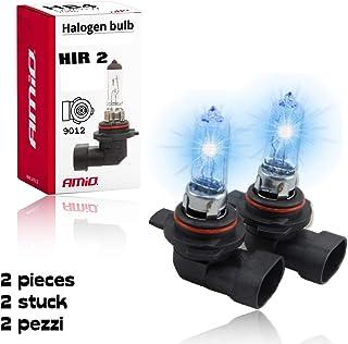 2 x HIR2 (auch bekannt als 9012 Glühbirne) Amio Ultra – Hochleistungs Halogen Scheinwerfer Leuchtmittel, Fernlicht, Abblendlicht und Nebel Ersatzlampe, hellstes Licht auf der Straße