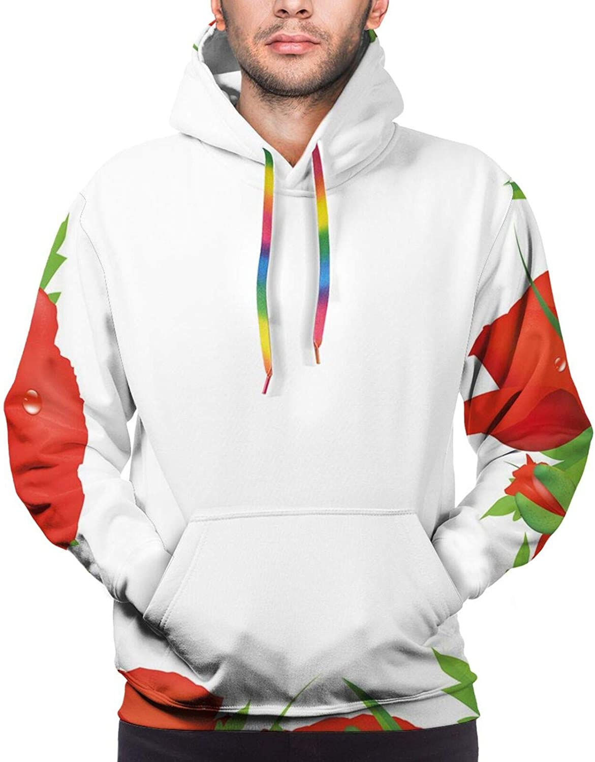 Men's Hoodies Sweatshirts,Lively Summer Meadow Frame Efflorescing Field in The Countryside Theme