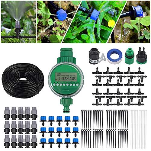 Sistema de Riego por Goteo Bricolaje Riego Automatico de 25 M Kit de Riego con Programador Goteros Pulverizadores Riego por Goteo Irrigación para Jardín Patio de Flores Invernadero Parque Huerto