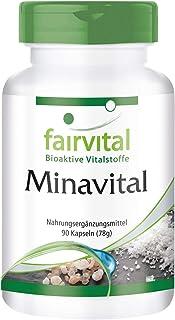 Minavital - VEGANO - Dosis elevada - 90 Cápsulas - multimineral con minerales esenciales y oligoelementos - Calidad Alemana