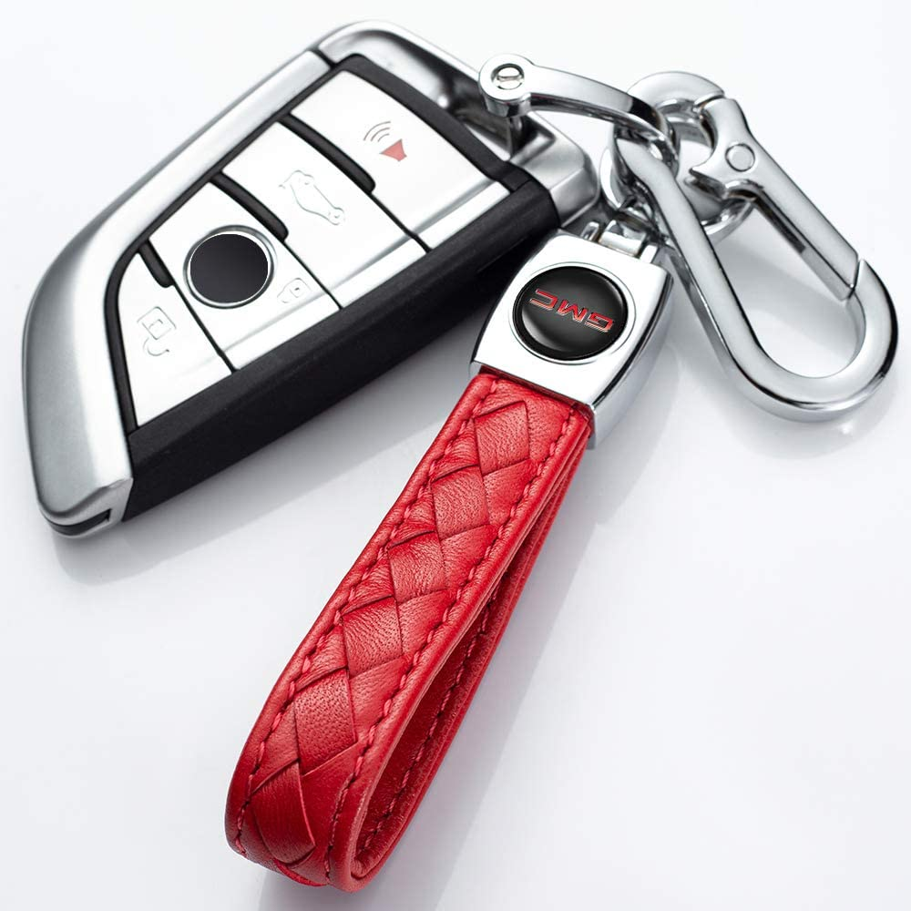 Haofeng Genuine Leather Key Chain Suit for Acura Key Chain Car Logo Keychain Keyring Accessories Simple red Elegant Durable
