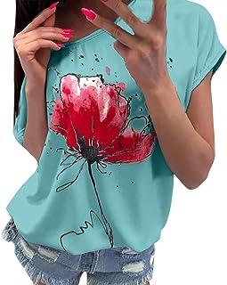 OVERDOSE Oberteile Frauen Kurzarm Blumen Gedruckt Tops Strand Beiläufige Lose Bluse Top T-Shirt Blusentops Sommerbluse Damen Tees