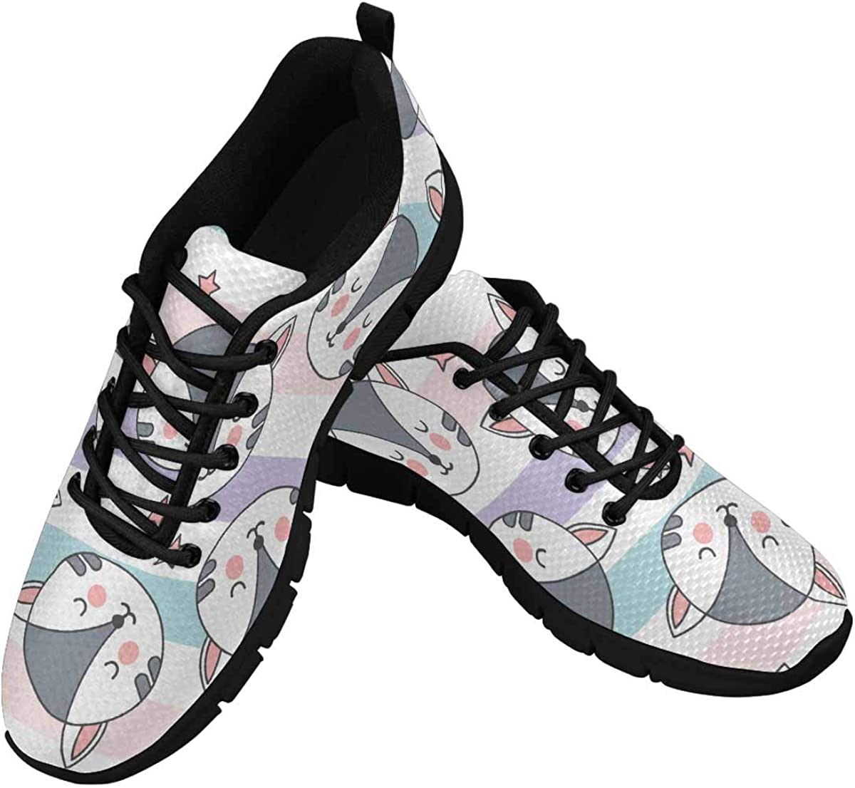 INTERESTPRINT Kittens and Stars Women's Athletic Mesh Breathable Casual Sneakers Fashion Tennis Shoes