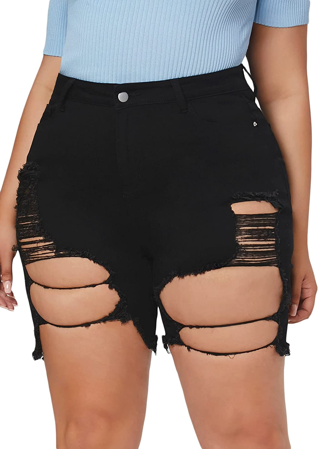 Floerns Women's Plus Size High Waisted Destroyed Denim Shorts Ripped Jeans