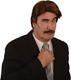 Kangaroo Costume Wig; 70s News Reporter Wig & Mustache, Brown