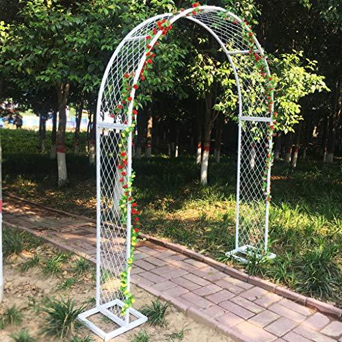 Arco Jardin, Arco de Enrejado, Arco de Soporte de Hierro con Recubrimiento en Polvo para Plantas Trepadoras, 2,5 M de Altura (Negro, Blanco)