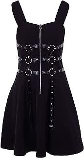 Harajuku Vintage Retro Black Punk Metal Chain Zipper Strap Back Gothic Dress Women Sexy Sleeveless Dress