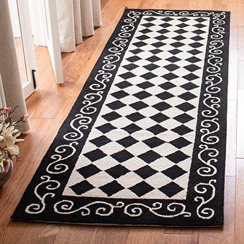 Safavieh Chelsea Collection HK711A Hand-Hooked Black and Ivory Premium Wool Runner (2