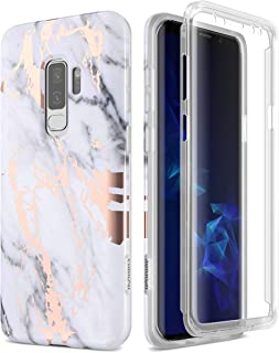 SURITCH Samsung Galaxy S9 Plus Marble Case, [Built-in Screen Protector] Full-Body Protection Shockproof Rugged Bumper Protective Cover for Galaxy S9 Plus 6.2 Inch (Gold Marble)