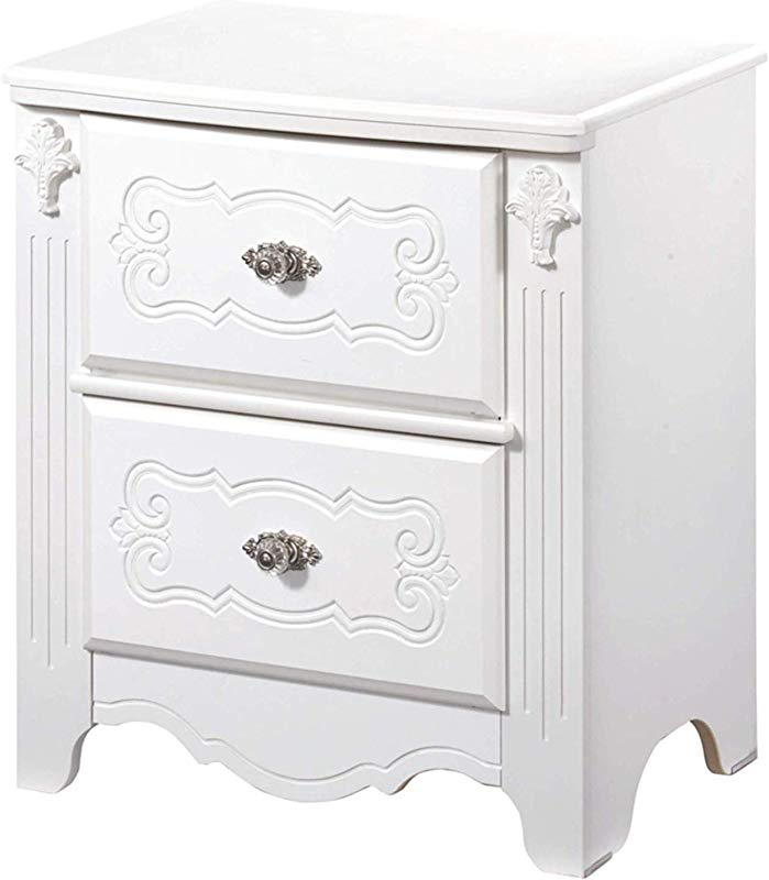 Wood Style Nightstand 2 Drawers Kids Room White Comfy Living Home D Cor Furniture Heavy Duty