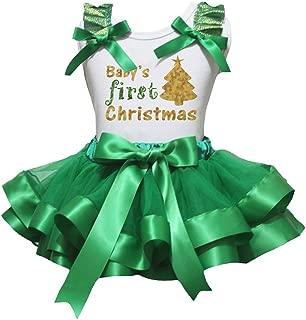 Petitebella Baby 1st Christmas White Shirt Kelly Green Petal Skirt Xmas Set Nb-8y