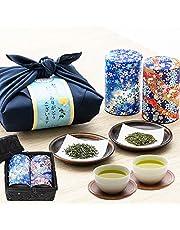 父の日 新茶 高級 日本茶2種 備長炭火入れ 静岡茶 掛川茶 ギフト お茶 竹かご入り プレゼント 風呂敷包み 川本屋茶舗