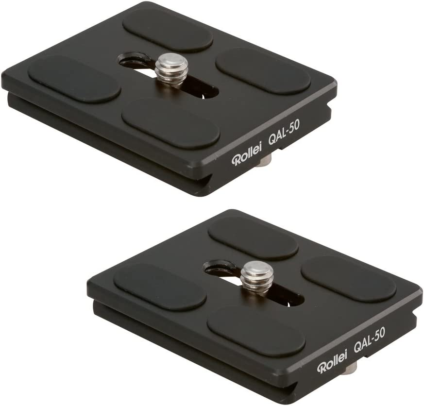 Rollei QAL-50 I Placa de liberación rápida para cámara profesional I Adecuado para todas las cámaras con rosca de 1/4 de trípode y compatible con Arca Swiss I Paquete de 2