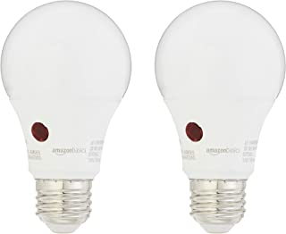 AmazonBasics 60 Watt Equivalent, Dusk to Dawn Sensor, Non-Dimmable - A19 LED Light Bulb, Daylight, 2-Pack