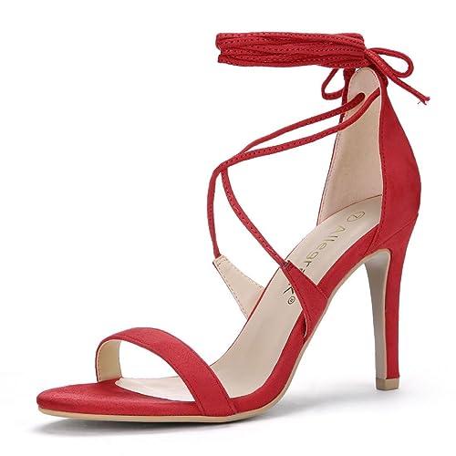 0621bb75fb13 Allegra K Women s Stiletto Heel Lace-up Sandals
