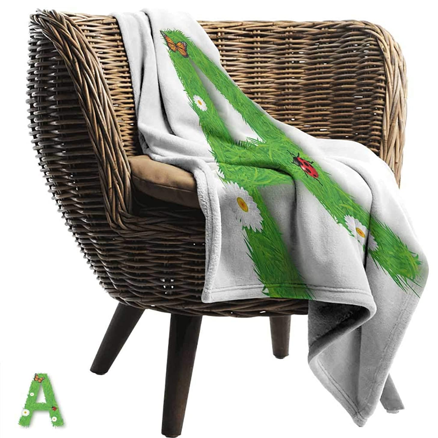 WinfreyDecor Letter A Living Room/Bedroom Warm Blanket Fresh My Name Style Capital A with Eco Spring Elements Animal Wings Blooms Ultra Soft and Warm Hypoallergenic 55