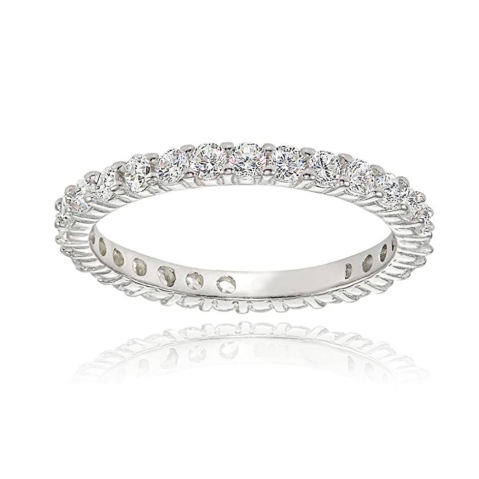 Hoops & Loops Sterling Silver Cubic Zirconia 2mm Round-Cut Eternity Band Ring