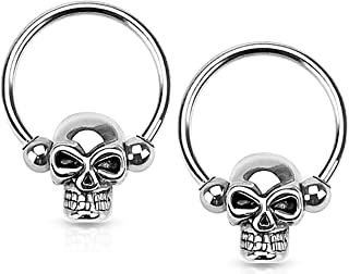 Set of 14G-16G Surgical Steel Skull CBR Hoops for Ear Lobes/Cartilage/Nipples