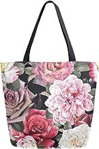 HMZXZ RXYY Blumen- Blume Rose Segeltuch Tasche Schwer Pflicht Groß Frauen Beiläufig Schulter Tasche Handtasche Wiederverwendbar Einkaufen Tasche Bag für Draußen Reise