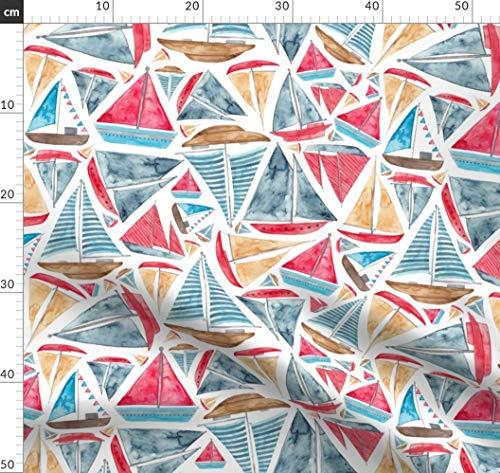 Schiff, Segelschiffe, Boot, Angeln, Ozean, Maritim, Strand Stoffe - Individuell Bedruckt von Spoonflower - Design von Elena O'neill Illustration Gedruckt auf Bio Baumwoll Interlock-Jersey
