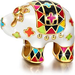 """NinaQueen""""Lucky Elephant"""" 925 Sterling Silver Enamel Animal Bead Charms, Ideal Gifts for Daughter from Daddy - Happy Family Series ♥Happy Mothers Day!"""
