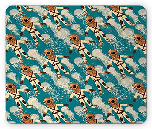 Quallen-Mausunterlage, Vintage Taucheranzug-Musterquallen am Hintergrund-Wassersport-Fliesen-Thema, Rutschfester Gummi des Rechteck-Standardgrößen-