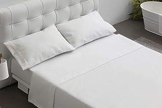 Burrito Blanco Juego de Sábanas Blancas Hotel Lisas de Algodón 100% para Cama de Matrimonio de 150x190 cm hasta 150x197 cm (Disponible en más Medidas)