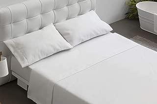BURRITO BLANCO Juego de Sábanas Blanco de Hostelería para Cama de Matrimonio de 150 cm x 190/200 cm (Disponible en más Medidas)