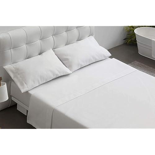 BURRITO BLANCO Juego de Sábanas Blanco de Hostelería para Cama Individual de 120 cm x 190