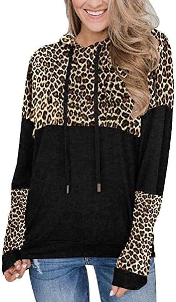 WUAI-Women Long Sleeve Leopard Color Block Casual Hooded Sweatshirt Loose Patchwork Drawstring Hoodies Pullover Tops