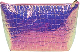 Women Holographic Geometric Makeup Cosmetic Bag PU Leather Purse Handbag Crocodile Pattern Toiletry Bag
