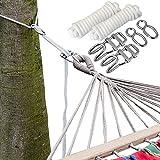 XXL Befestigung für Hängematte an Bäumen | Seilbefestigungsset 6 Meter | Belastbarkeit max. 160 KG | Komplettset