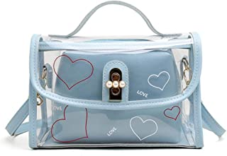 Sylviaian Nice Two-Pieces Set Women Transparent Shoulder Bag Clear Jelly Bag Tote Casual Handbag Girl Messenger Crossbody Bag(None Blue)