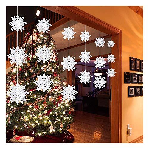 Feliciay 18 Stück Winter Weihnachten hängende Schneeflocke Dekorationen Girlande 3D Glitzer Wunderland Urlaub Neujahr Party Home Papier Dekoration Feiertage (weiß)