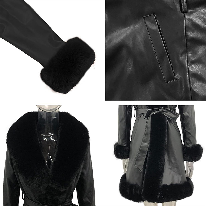 Side Pockets Jackets Women PU Leather Tie Belt Waist Long Coats Women Elegant Solid Faux Fur Jackets Female Ladies (Color : BlackGray, Size : S.)