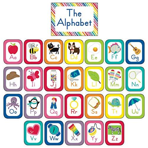 Schoolgirl Style Decorative Just Teach Alphabet Cards Bulletin Board Set (110392),Multi
