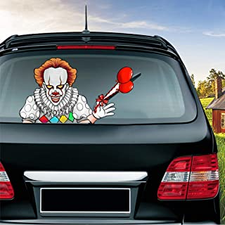 MIYSNEIRN Halloween Horror Clown Waving Wiper Decal for Rear Window 3D Cartoon Festive Car Sticker Reusable Waterproof Vinyl Decal for Vehicle Rear Wipers Decoration (2)