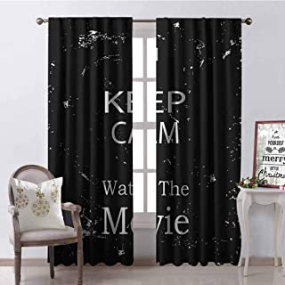 GloriaJohnson Keep Calm 99% Blackout Curtains Watch The Movie Quote for Film Buffs Grungy Weathered Backdrop with Old Camera for Bedroom- Kindergarten- Living Room W52 x L72 Inch Black White