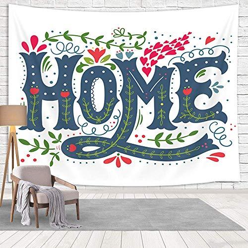 Home Sweet Home - Tapiz para colgar en la pared, decoración rústica de granja floral con citas familiares en corazón rojo, tapices para sala de estar, dormitorio, dormitorio, 152 x 101 cm