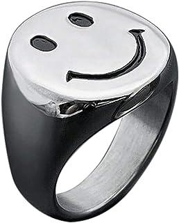 IDesign Smiley Face Ring مكتنزة الذهب الأبيض خاتم ختم الفضة ، الفولاذ المقاوم للصدأ الخواتم الاصطناعية بارد ل Egirl Eboy ا...
