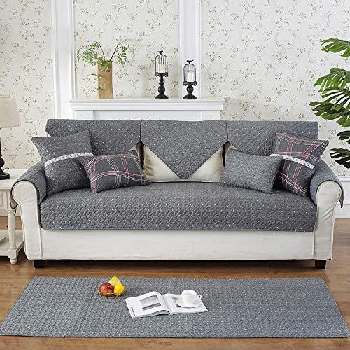 B.H Funda de Sofa Elástica Chaise Longue Brazo,Cojín de Cuero Simple para sofá, cojín Antideslizante de algodón-Wave Point_70 * 180cm