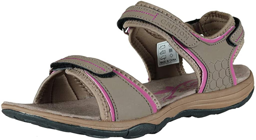 GRITION Women Hiking Sandals Waterproof Open Toe 3 Adjustable Hook and Loop Sports and Outdoor Water Sandle