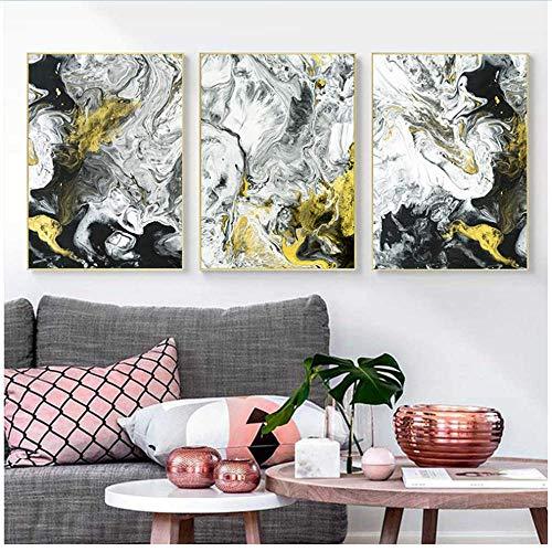 XingChen Wandbilder 3x60x80cm ohne Rahmen Modern Minimalistic Abstract Liquid Ink Sport Inkjet Signs Kunstdruck Poster Bild Wanddekoration